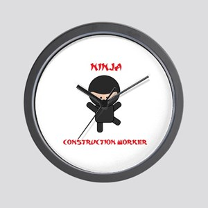 Ninja Construction Worker Wall Clock