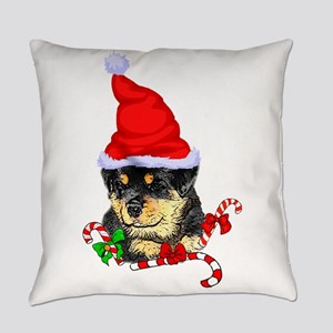 Rottweiler Puppy Christmas Everyday Pillow