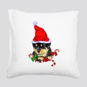 Rottweiler Puppy Christmas Square Canvas Pillow