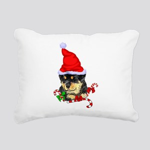 Rottweiler Puppy Christm Rectangular Canvas Pillow