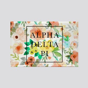 Alpha Delta Pi Floral Rectangle Magnet