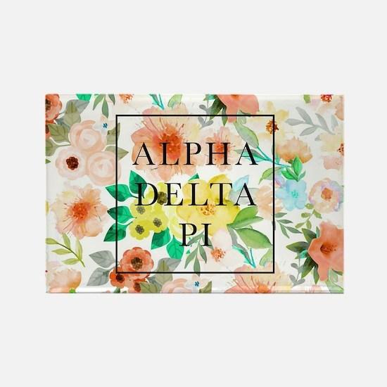 Alpha Delta Pi Floral Rectangle Magnet