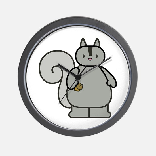 Chubby Funny Gray Squirrel Wall Clock