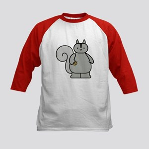 Chubby Funny Gray Squirrel Kids Baseball Jersey