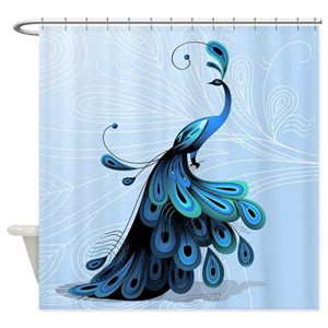 Blue Peacock Shower Curtains