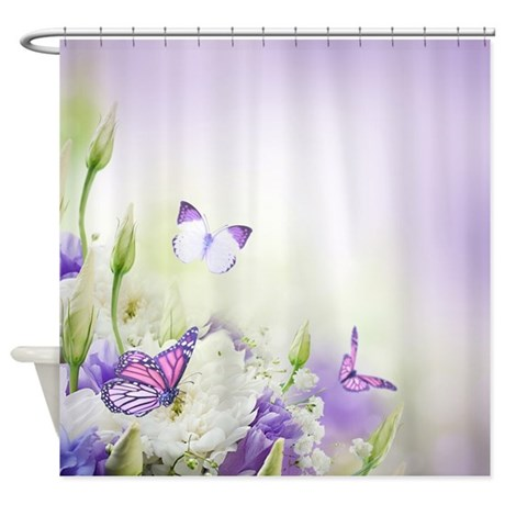 Flowers And Butterflies Shower Curtain by BestShowerCurtains