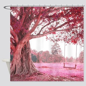 Pink Tree Swing Shower Curtain