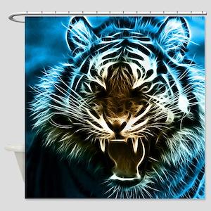 Fractal Tiger Art Shower Curtain