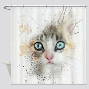 Kitten Painting Shower Curtain