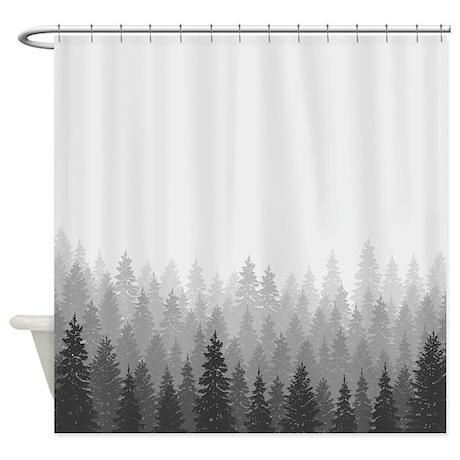 Gray Forest Shower Curtain By BestShowerCurtains