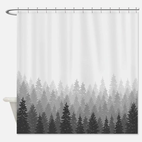 Interdesign 45020 Shower Curtain Forest Gray Black Brown Curtains Cafepress
