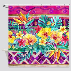 Tropical Watercolor Shower Curtain