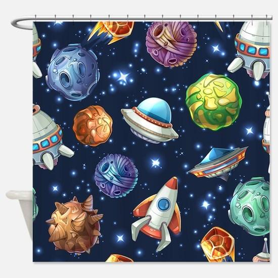 Cartoon Space Shower Curtain