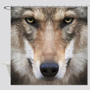 Realistic Wolf Painting Shower Curtain