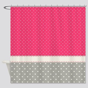 Dots And Hearts Shower Curtain