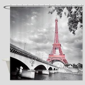 Pink Eiffel Tower Shower Curtain