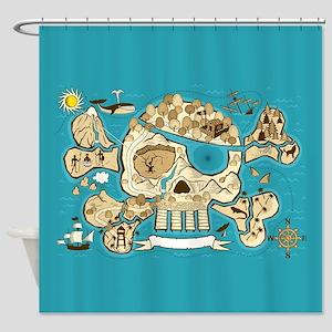 Treasure Map Shower Curtain