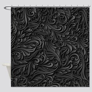 Black Flourish Shower Curtain