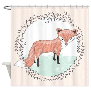 Woodland Fox Owl Pattern Shower Curtains