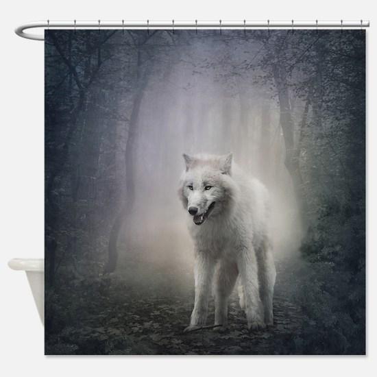 White Wolf Shower Curtain