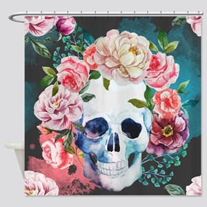 Flowers And Skull Shower Curtain