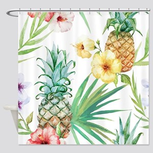 Tropical Pineapples Shower Curtain