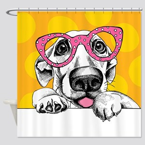 Hipster Dog Shower Curtain