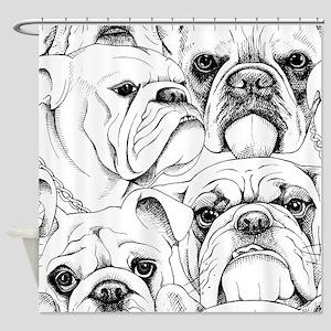 Bulldog Collage Shower Curtain