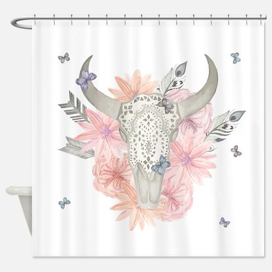 Buffalo Skull Shower Curtain