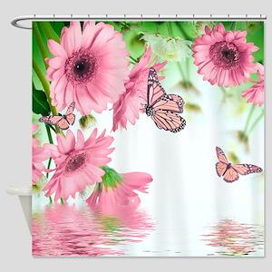 Pink Butterflies Shower Curtain