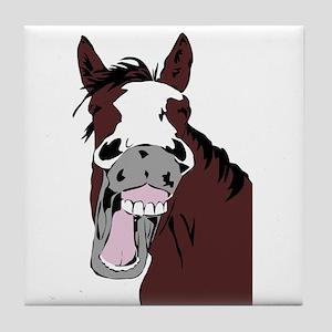 Cartoon Laughing Horse Funny Animal Art Tile Coast