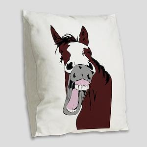 Cartoon Laughing Horse Funny Animal Art Burlap Thr