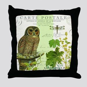 modern vintage french woodland owl Throw Pillow