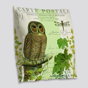 Modern Vintage French Woodland Burlap Throw Pillow