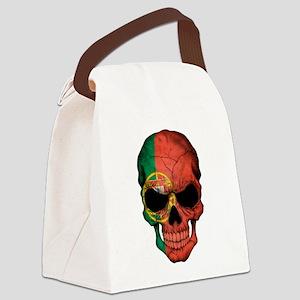 Portuguese Flag Skull Canvas Lunch Bag