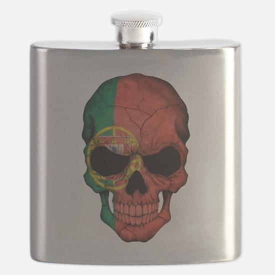 Portuguese Flag Skull Flask