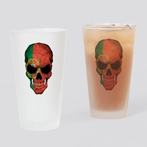 Portuguese Flag Skull Drinking Glass
