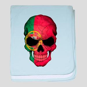 Portuguese Flag Skull baby blanket