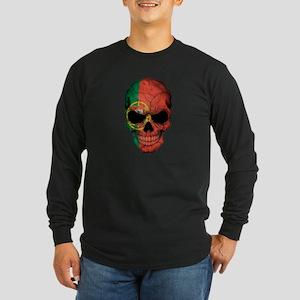 Portuguese Flag Skull Long Sleeve T-Shirt