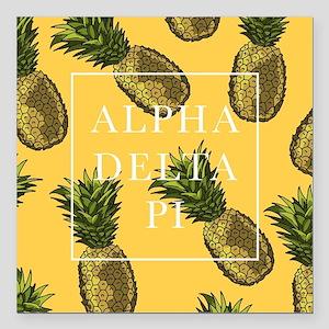 "Alpha Delta Pi Pineapple Square Car Magnet 3"" x 3"""