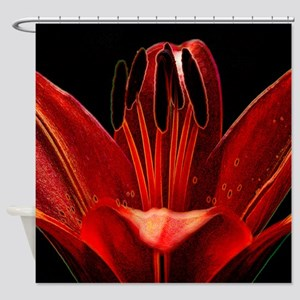 Artistic Red Lily Shower Curtain
