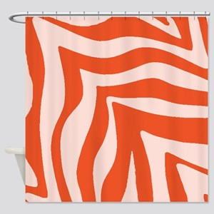 Tangerine Orange Zebra Shower Curtain