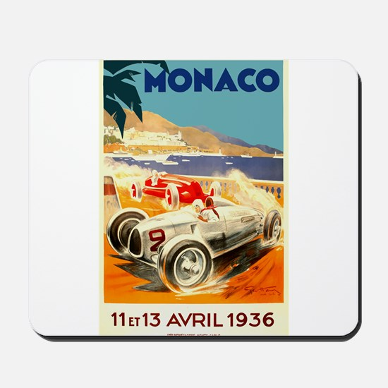 Antique 1936 Monaco Grand Prix Auto Race Poster Mo