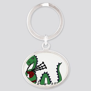 LochNess Monster Bagpipes Oval Keychain