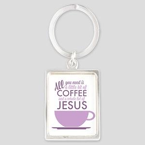 Coffee & Jesus Portrait Keychain