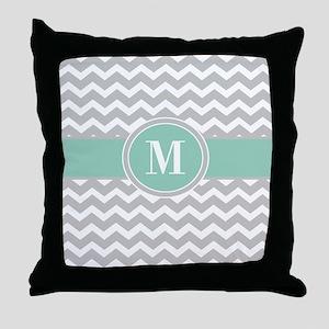 Gray Mint Chevron Monogram Throw Pillow