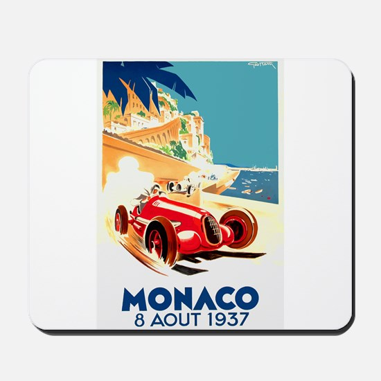 Antique 1937 Monaco Grand Prix Auto Race Poster Mo