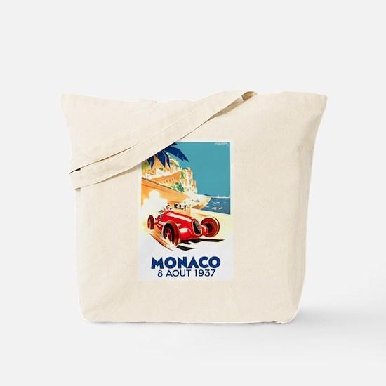 Antique 1937 Monaco Grand Prix Auto Race Poster To