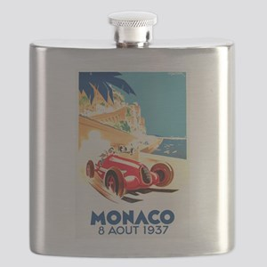 Antique 1937 Monaco Grand Prix Auto Race Poster Fl