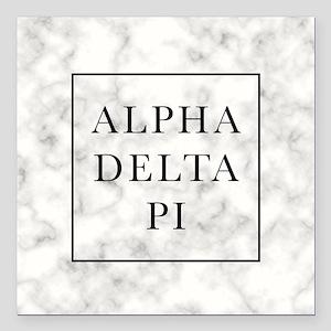 """Alpha Delta Pi Marble Square Car Magnet 3"""" x 3"""""""